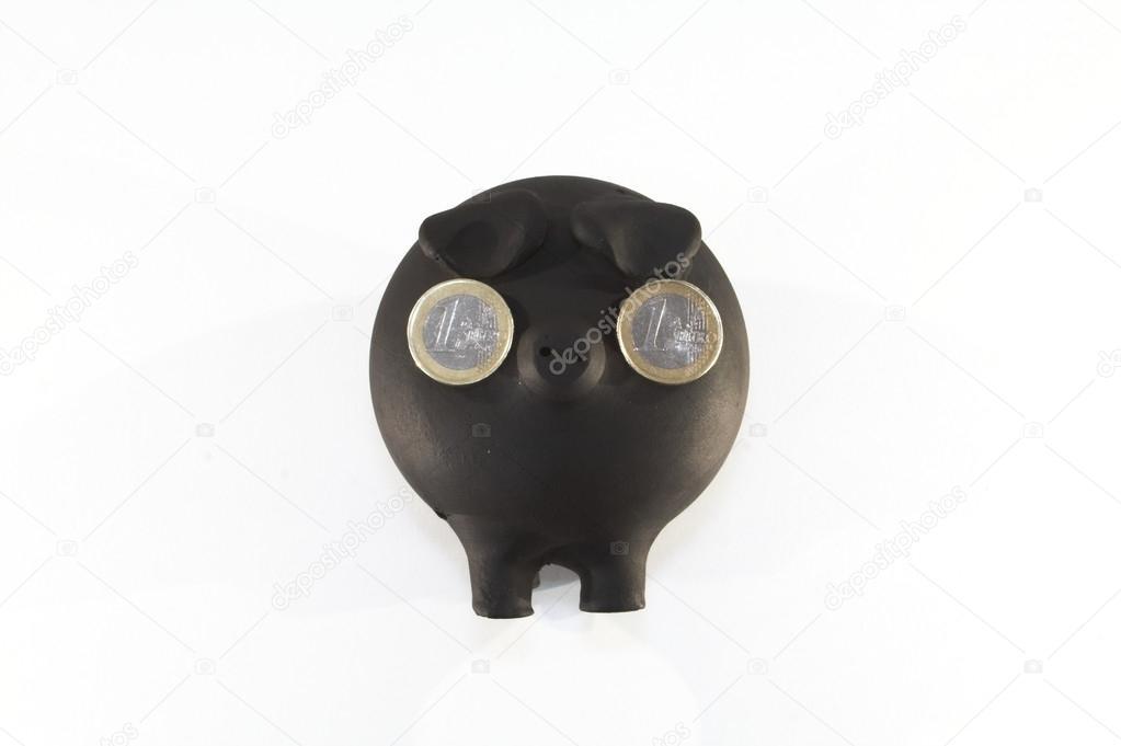 Sparschwein Mit Münzen In Den Augen Nur Augen Für Das Geld