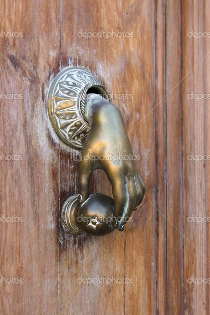 Hand Shaped Door Knocker U2014 Stock Photo