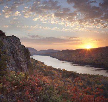 Lake of the Clouds, Michigan in peak fall color at sunrise