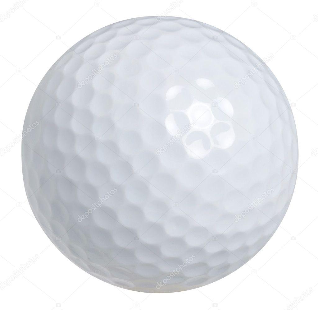 une balle de golf isol e sur fond blanc avec un trac de d tourage photographie willard. Black Bedroom Furniture Sets. Home Design Ideas