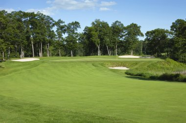 Golf fairway and green with bunkers