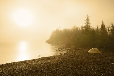 Camping on the beach of Lake Superior at sunrise