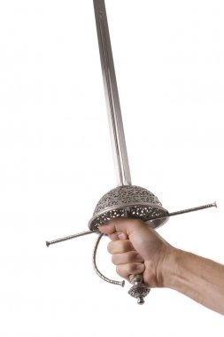 Hand holding rapier style sword isolated on white
