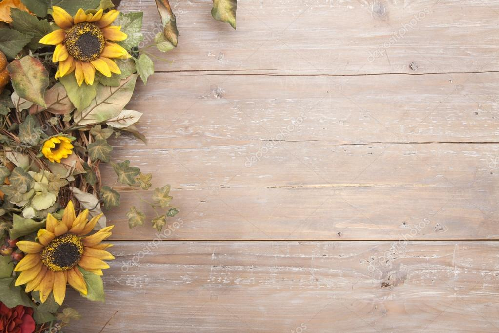 A Fall Border With Sunflowers On Grunge Wood Background Photo By Willard