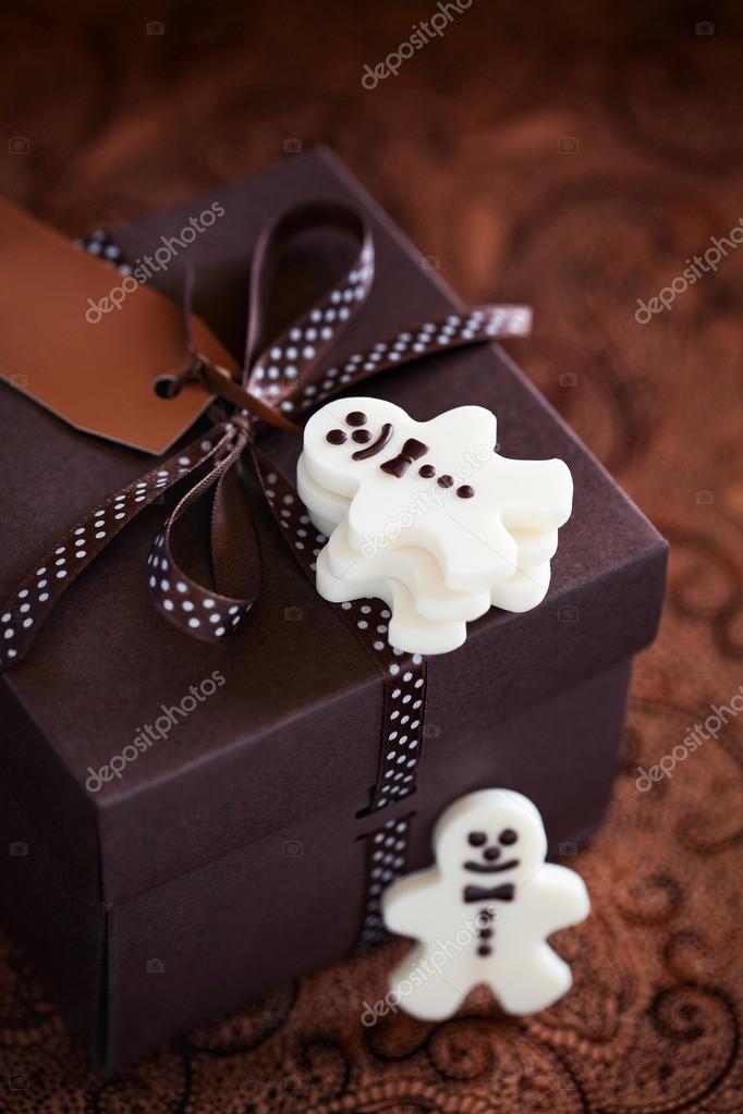 weiße Schokolade Weihnachten Süßigkeiten Mann und Geschenk-box ...