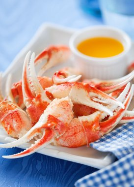 Boiled crab claws with orange sauce
