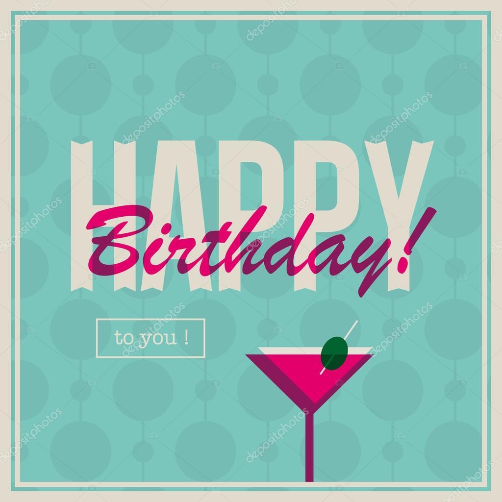 verjaardag vrouw afbeelding Verjaardag card voor vrouw met cocktail drinken — Stockvector  verjaardag vrouw afbeelding