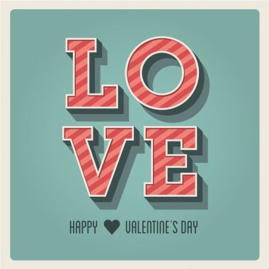 Happy Valentines day card, i love you, font type, 3 dimensional, vintage retro clip art vector