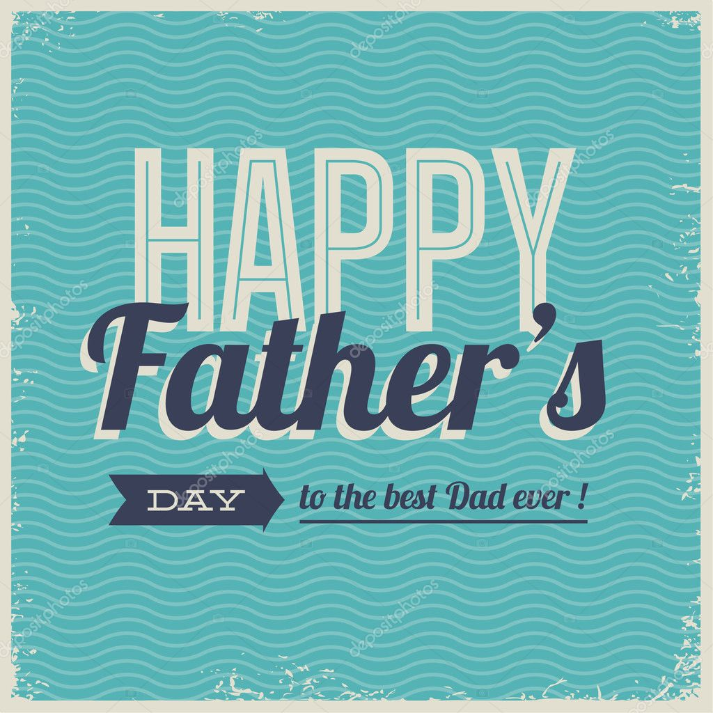 Happy Fathers Day Card Vintage Retro Type Font Stock Vector