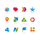 logo and icons set, heart, arrows, star, sphere, cube, ribbon and flag