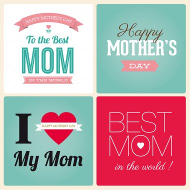 Happy mothers day card vintage retro type font