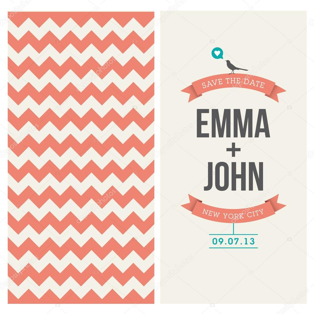 wedding invitation card editable with backround chevron