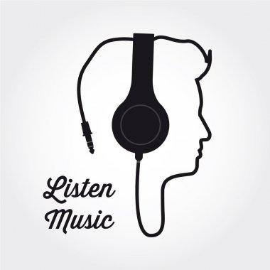 man profile silhouette with headphone music