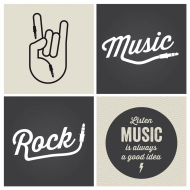 Logo music design elements with font type and illustration vector