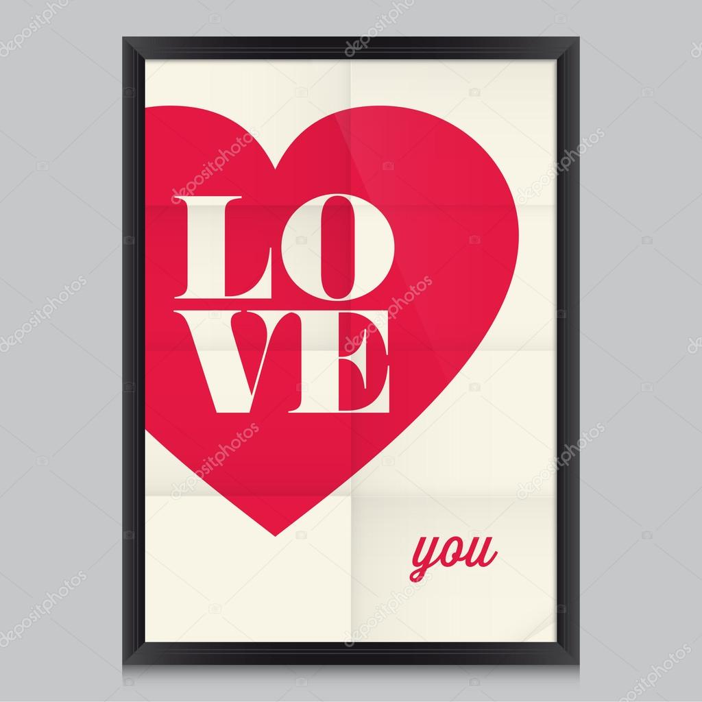 Love quote poster. Effects poster, frame, colors background and colors text are editable. Happy Valentines card. Wedding invitation. clipart vector