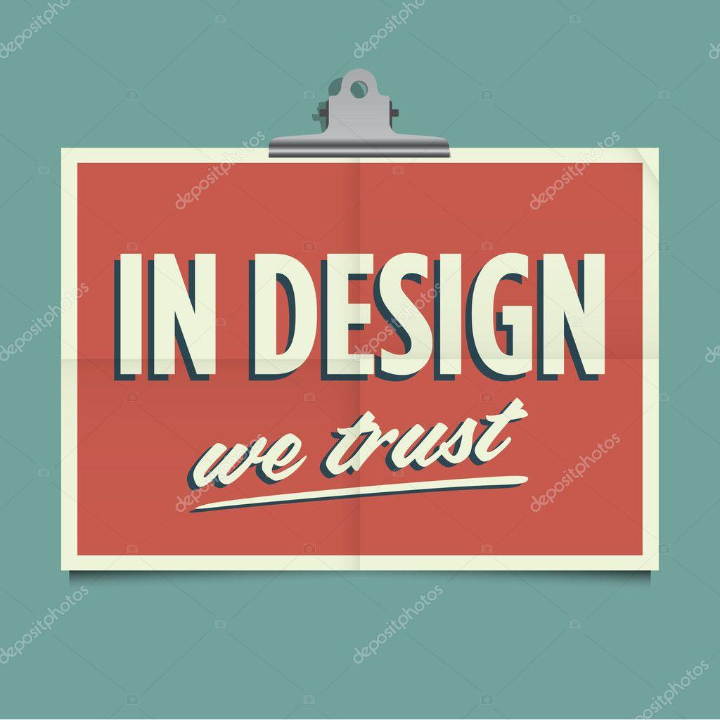 Design poster retro - In Design We Trust Folded Poster Retro Vintage Vector Design Stock Vector