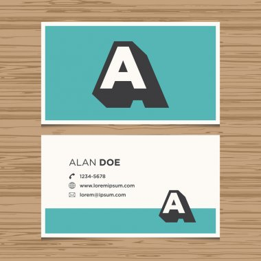 Business card with alphabet letter.