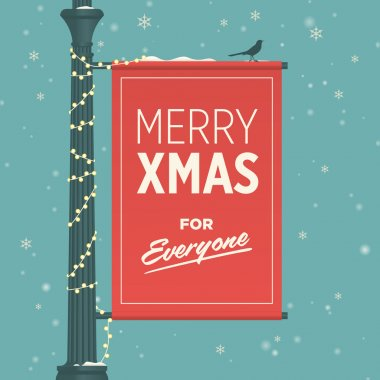 Merry christmas card retro vintage