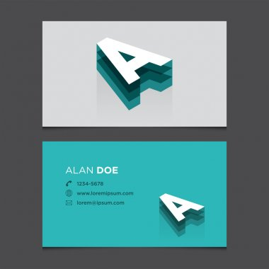 Business card with 3D alphabet letter