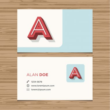 Business card with alphabet letter