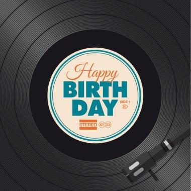 Happy birthday card. Vinyl illustration.