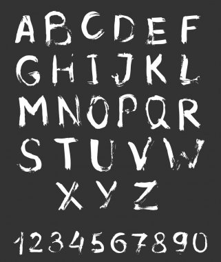 Sketchy alphabet with numbers.