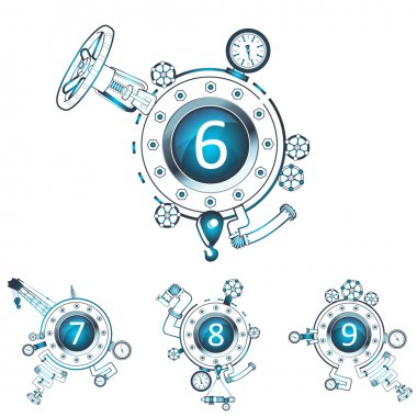 Set of numbers in construction design elements. (gas or fuel pipe, faucet, valve, connector, wheel, screw, manometer etc...) (vector)