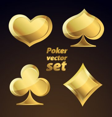 Set of gold playing cards symbols. Vector design elements.