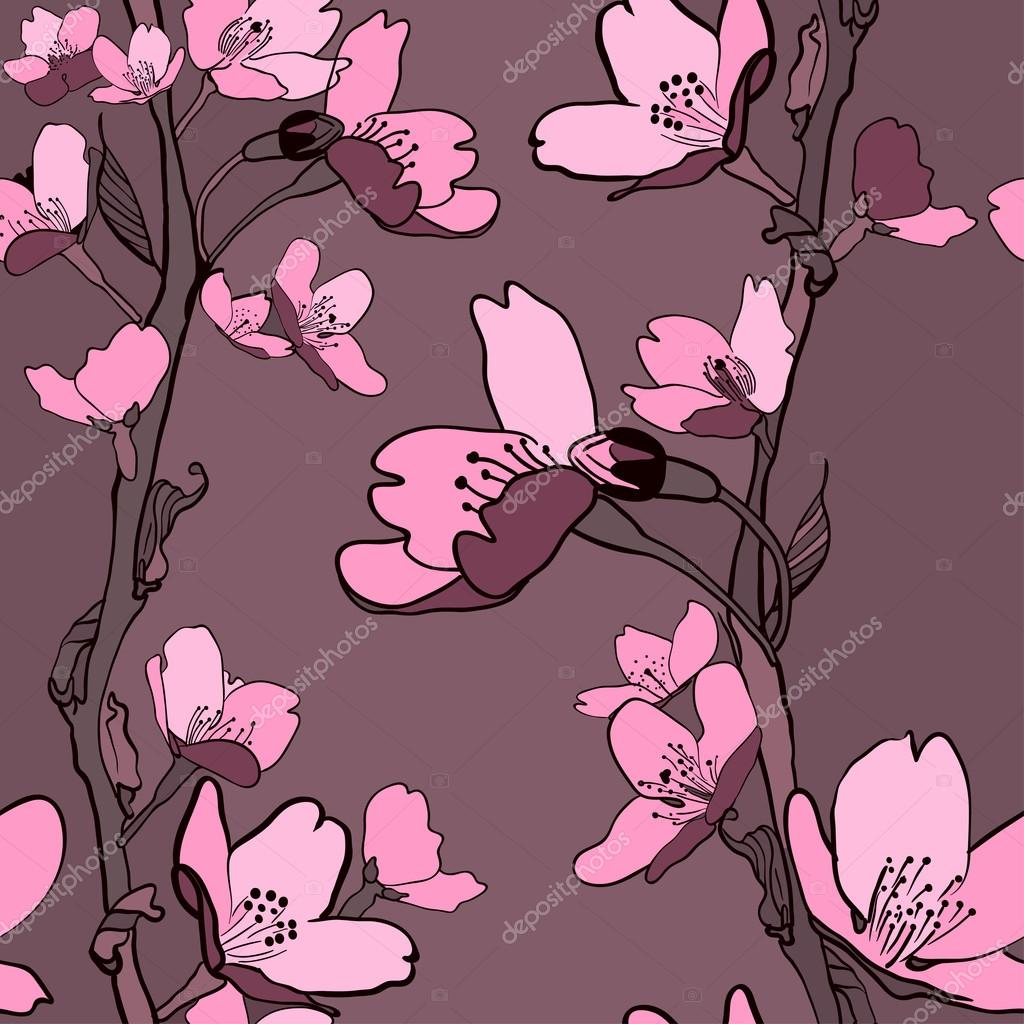 Beautiful seamless background with apple tree flowers and branches. (vector)