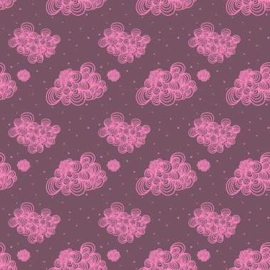 Vector illustration. Seamless pattern with pink cute clouds. stock vector