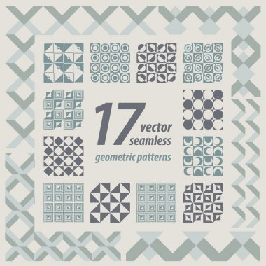 A set of 17 perfectly seamless retro patterns. Vector.