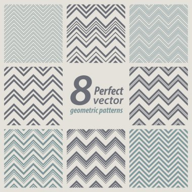 A set of 8 seamless retro Zig zag patterns.