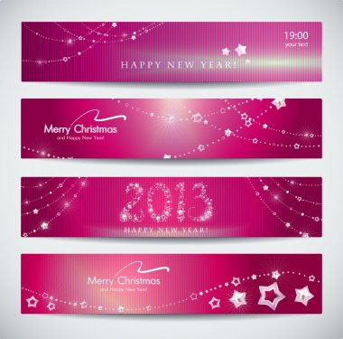 Set of pink New Year banners, abstract headers.