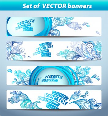 Set of banners, abstract headers with blue blots.