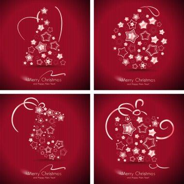 Set of 4 winter holidays cards.