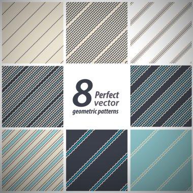 A set of 8 vector seamless stylish retro patterns.