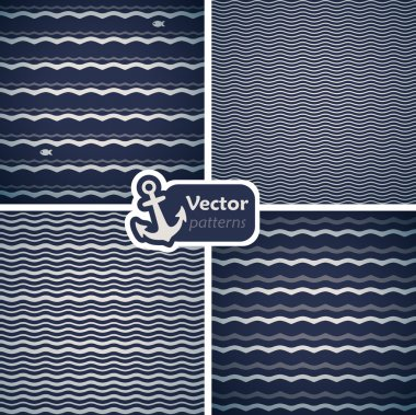Set of 4 seamless patterns with waves.