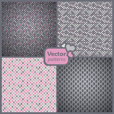 A set of 4 perfect seamless pink and grey retro patterns. Vector