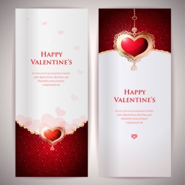Collection of gift cards and invitations with hearts. Vector background.