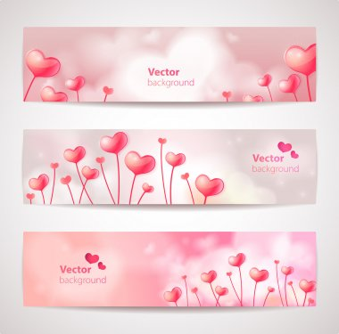 Set of cute vector banners with hearts.