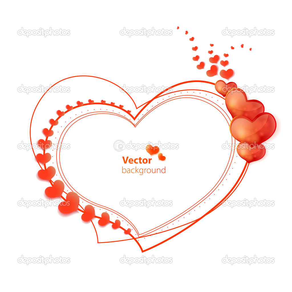abstract vector heart shaped frame with glossy hearts stock illustration