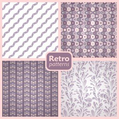Retro set of 4 seamless vector patterns.
