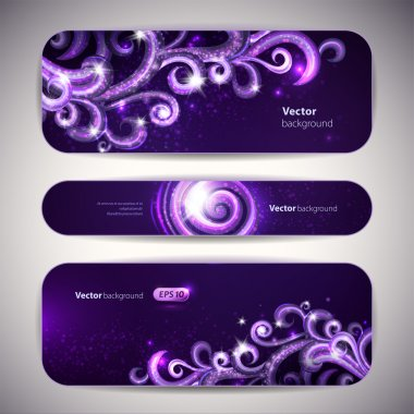 Vector set of 3 banners with decorative swirls.