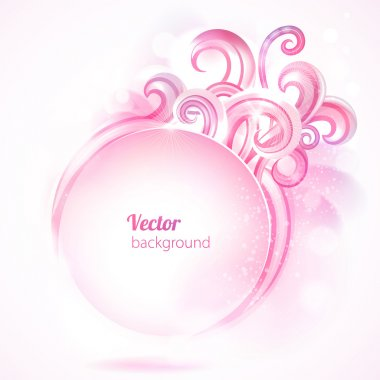 Abstract round frame with pink swirls. Vector background.