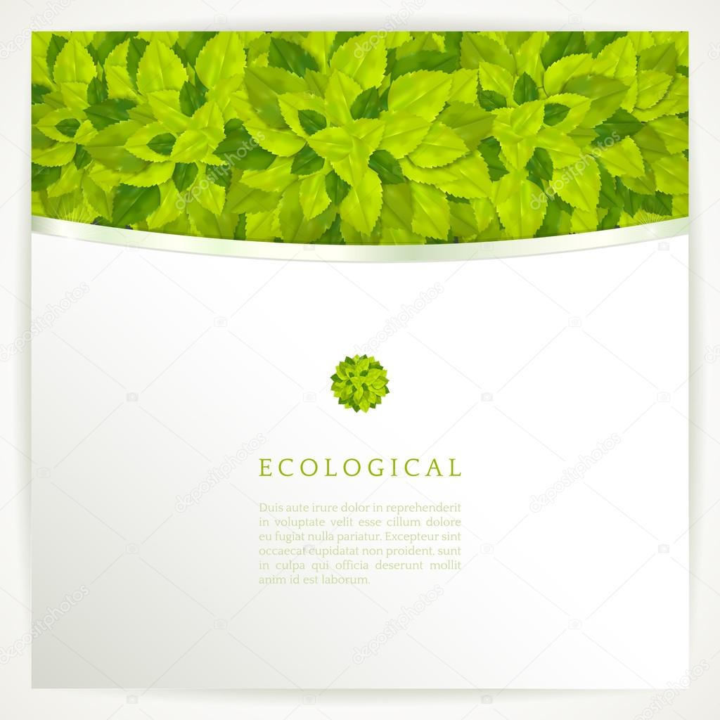 Vector background with stylish composition of green leaves..