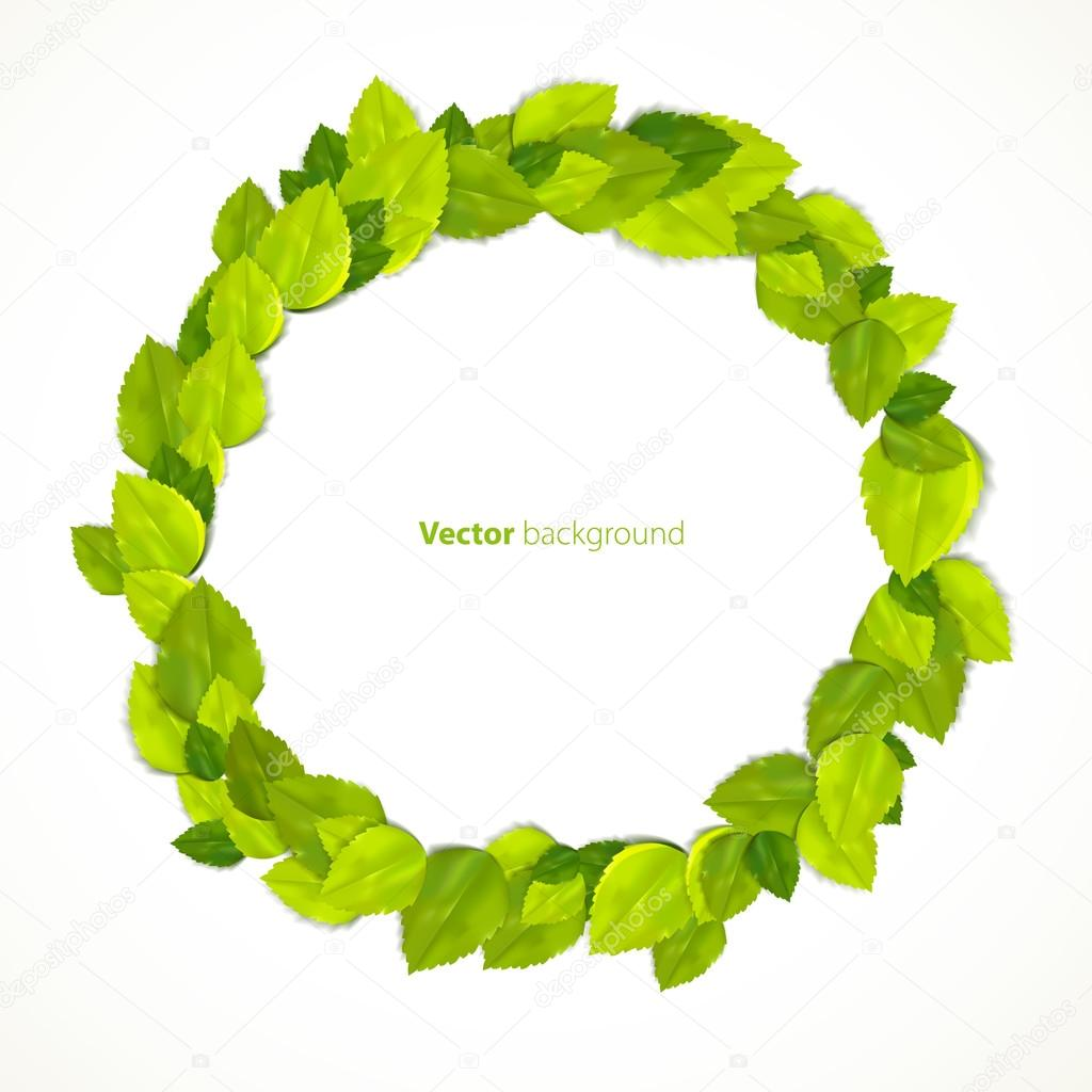Round frame with green leaves. Vector illustration.