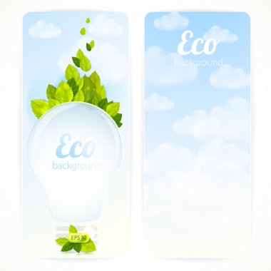 Set of vector banners with green leaves, electric lamp and clouds. Eco background.
