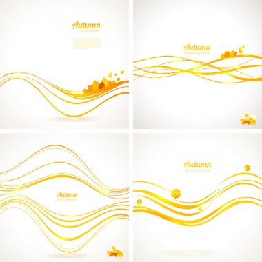 Set of 4 Autumn vector backgrounds with abstract lines and leaves.