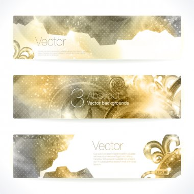Set of gold abstract vector banners.