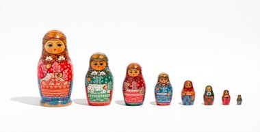 Matryoshka dolls, in a row, in order of size